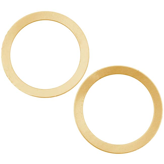 Solid Brass Large Hole Open Circle Blanks - 25.5mm Diameter 24 Gauge (2)