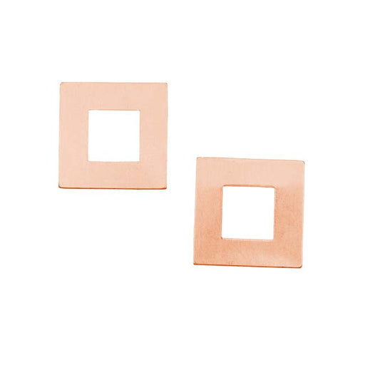 Solid Copper Open Square Stamping Blanks - 17.5x17.5mm 24 Gauge (2)