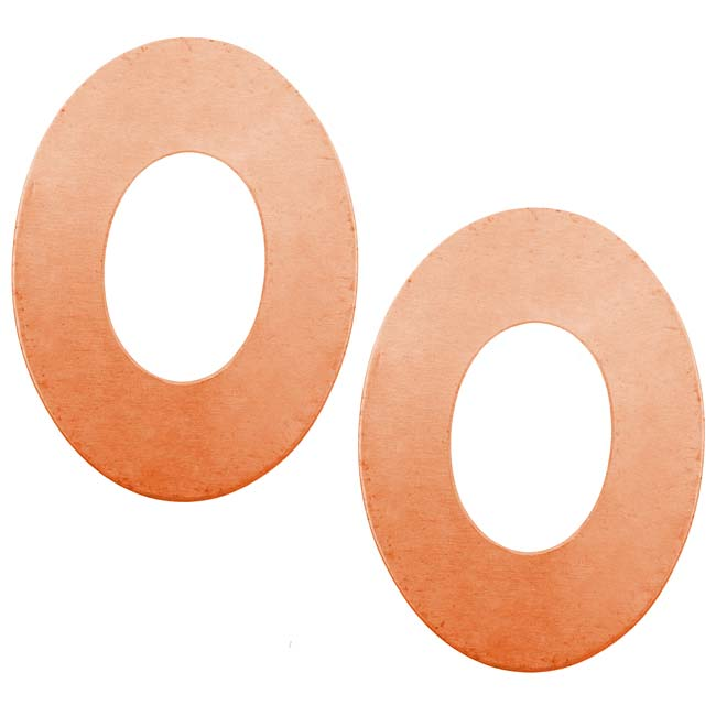 Solid Copper Large Open Oval Stamping Blanks - 38.5x28.5mm 24 Gauge (2)