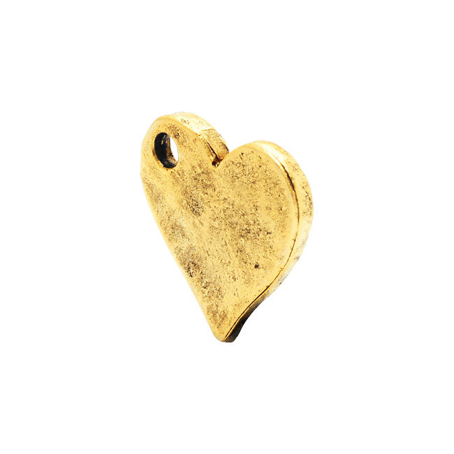 Nunn Design Flat Tag, Hammered Heart 12x12.5mm, 1 Piece, Antiqued Gold