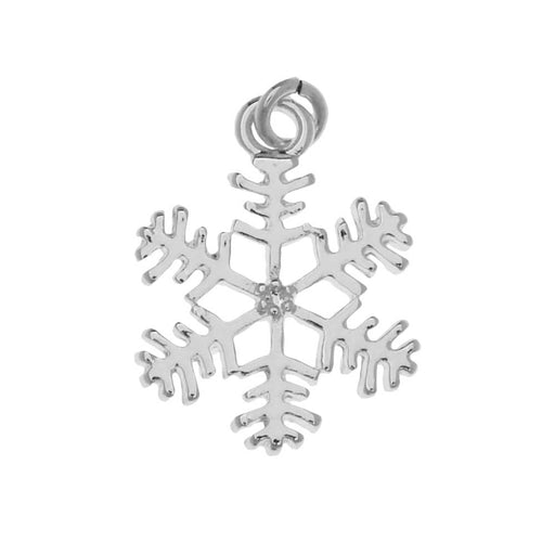 Antiqued Silver Plated Winter Snowflake Charm 19.5mm (1)
