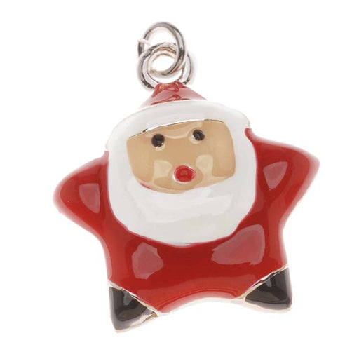 Silver Plated With Enamel Christmas Star Shaped Santa Claus Charm 20mm (1)
