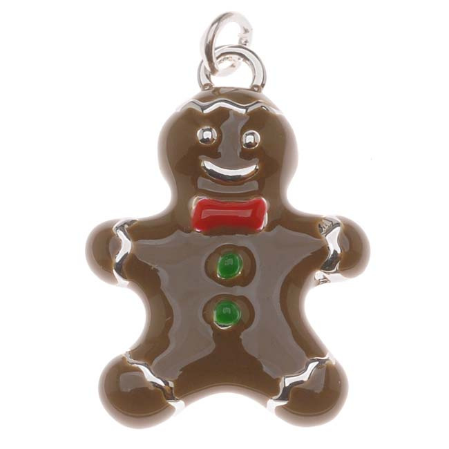 Silver Plated With Enamel - Gingerbread Man Charm 23mm (1)
