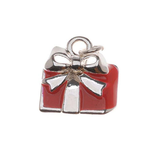 Silver Plated Charm Red Enamel Holiday Gift Wrapped Present With Bow 14mm (1)