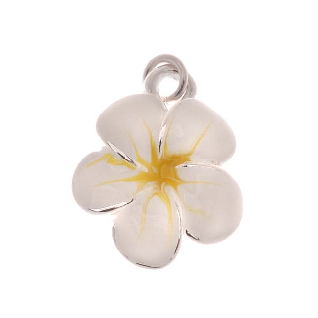 Silver Plated Tropical White And Yellow Enamel Plumeria Flower Charm 16mm (1)