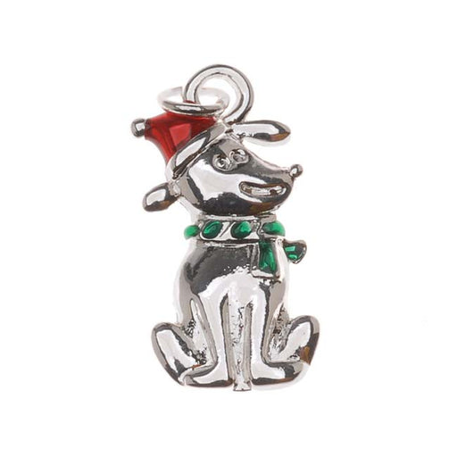 Silver Plated Enamel Charm Christmas Puppy Dog With Santa Hat 19mm (1)