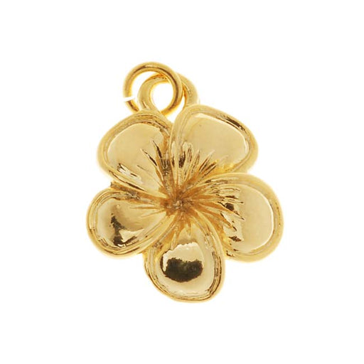22K Gold Plated Tropical Plumeria Flower Charm 16mm (1)