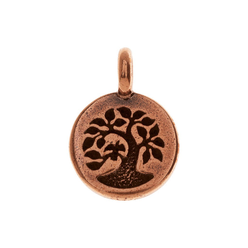 TierraCast Pewter Charm, Round Tree with Bird 17x12mm, 1 Piece, Antiqued Copper Plated