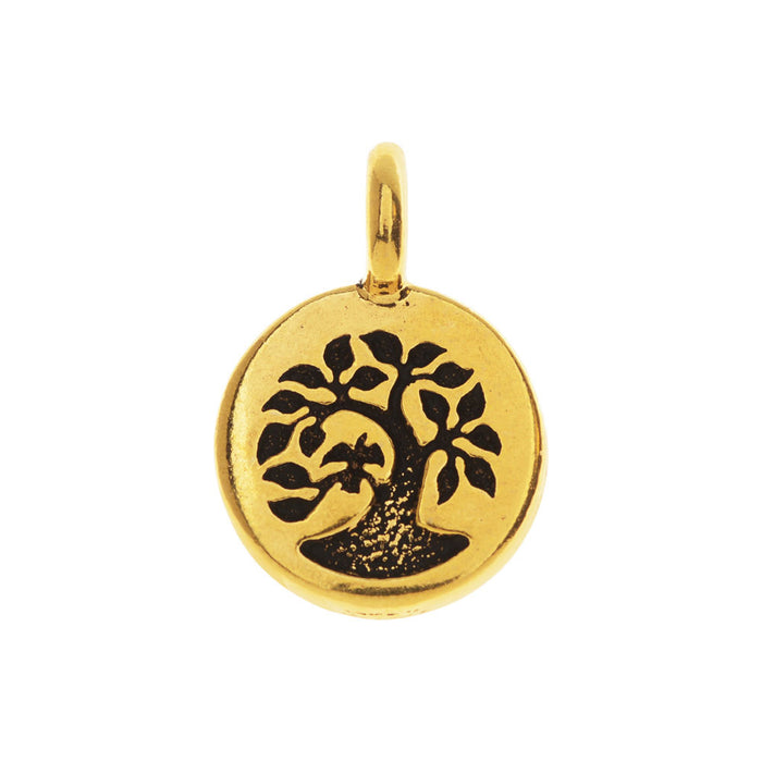 TierraCast Pewter Charm, Round Tree with Bird 17x12mm, 1 Piece, Gold Plated