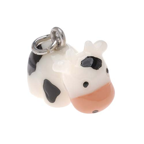 Jewelry Charm, 3-D Hand Painted Resin Cow 14.6mm, 1 Piece, Black and White