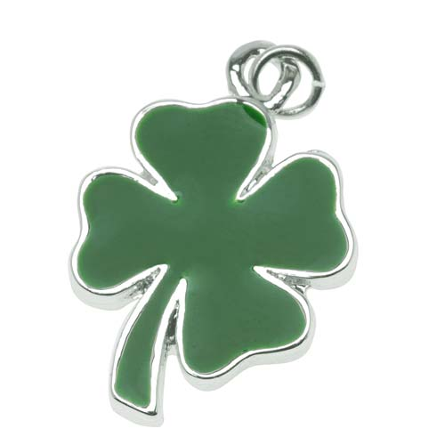 Silver Plated Two Sided Green Four Leaf Clover Shamrock Charm 22mm (1)