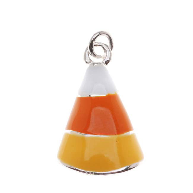 Silver Plated With Orange White Enamel Halloween Candy Corn Charm (1)