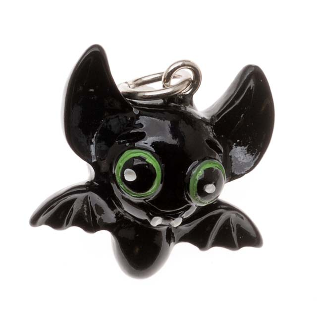 Jewelry Charm, 3-D Hand Painted Resin Bat 19mm, 1 Piece, Black