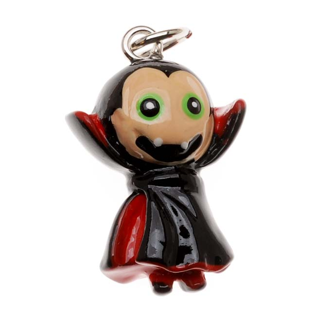 Jewelry Charm, 3-D Hand Painted Resin Vampire 23mm, 1 Piece, Black and Red