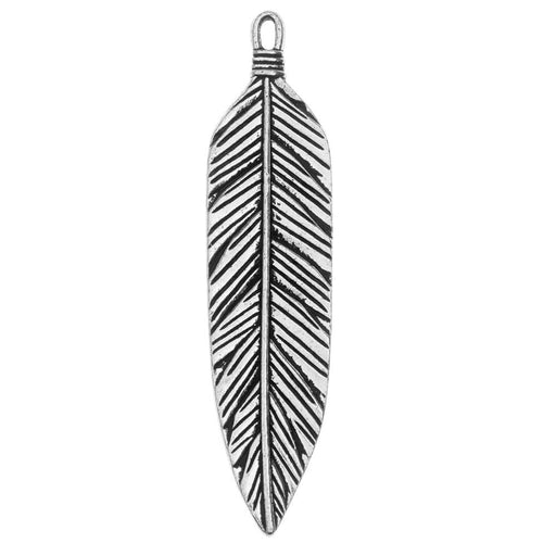 TierraCast Pewter Pendant, Native Feather 72mm, 1 Piece, Antiqued Silver Plated