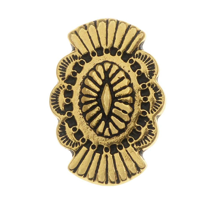 TierraCast Pewter Button, Oval with Southwestern Design 20x13.5mm, 1 Piece, Antiqued Gold Plated