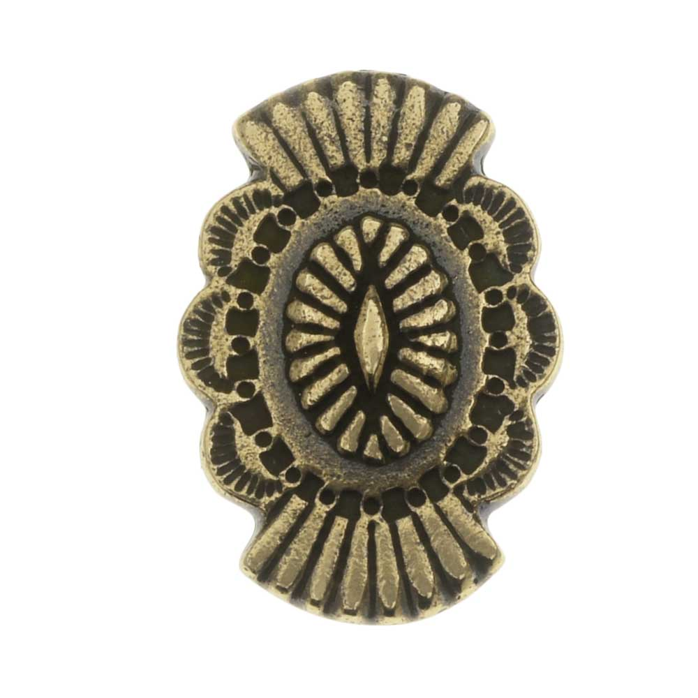TierraCast Pewter Button, Oval with Southwestern Design 20x13.5mm, 1 Piece, Brass Oxide