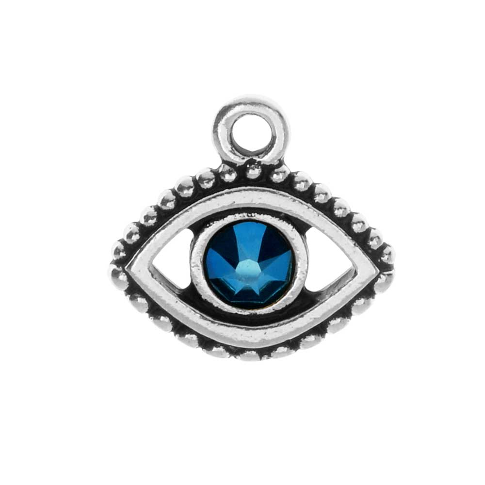 TierraCast Pewter Charm, Evil Eye with Swarovski Crystal 15mm, 1 Piece, Antiqued Silver Plated