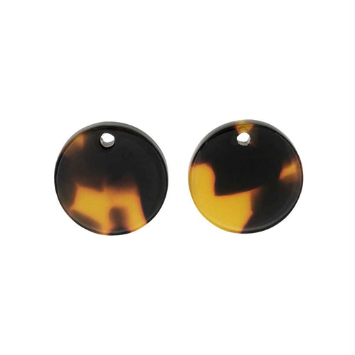 Zola Elements Acetate Pendant, Coin 14mm, 2 Pieces, Brown Tortoise Shell