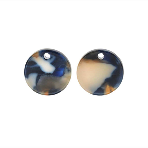 Zola Elements Acetate Pendant, Twilight Coin 14mm, 2 Pieces, Blue Multi-Colored