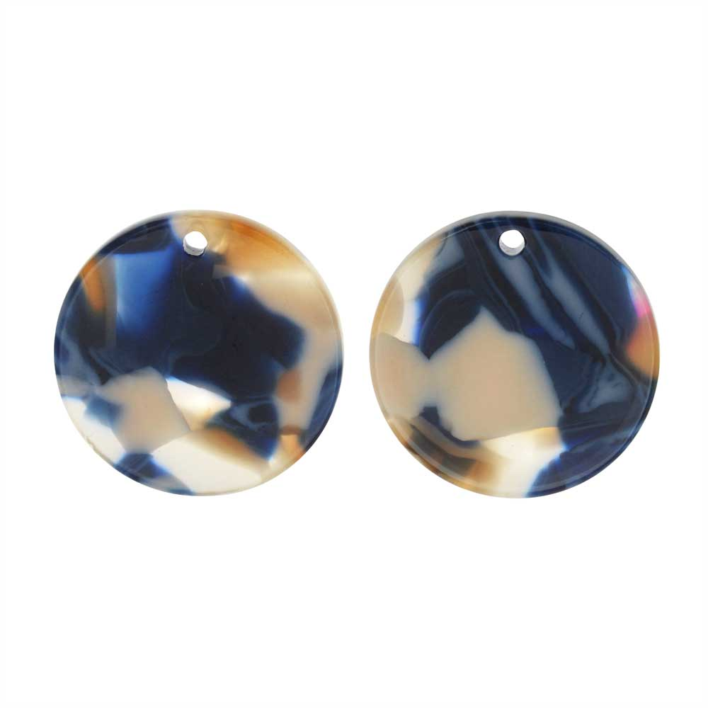Zola Elements Acetate Pendant, Twilight Coin 20mm, 2 Pieces, Blue Multi-Colored