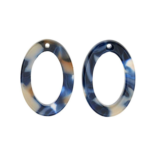 Zola Elements Acetate Pendant, Twilight Oval 15x22mm, 2 Pieces, Blue Multi-Colored