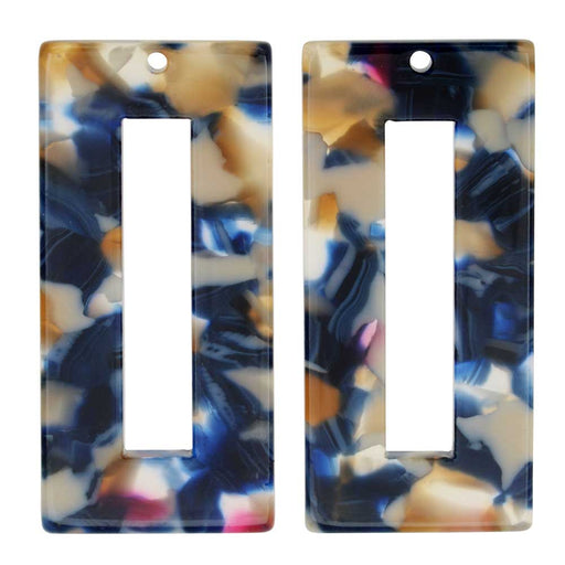 Zola Elements Acetate Pendant, Twilight Rectangle Frame 22x49mm, 2 Pieces, Blue Multi-Colored