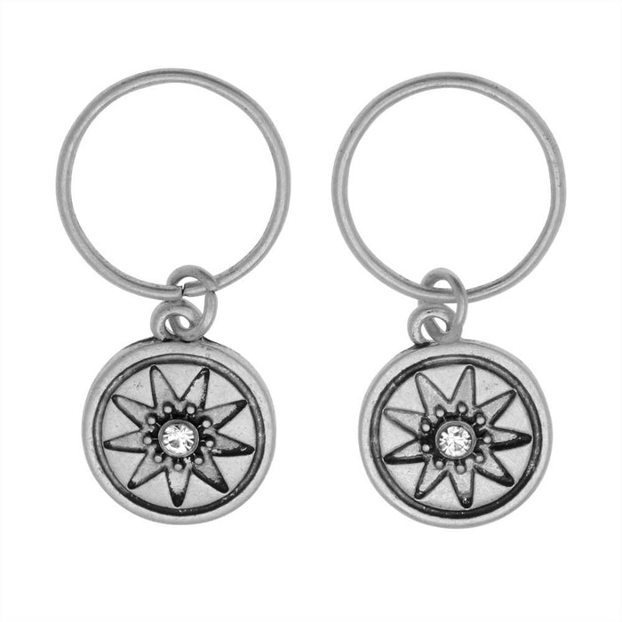 Zola Elements Charm, Starburst Compass with Crystal 14.5x12mm, 2 Pieces, Antiqued Silver Tone