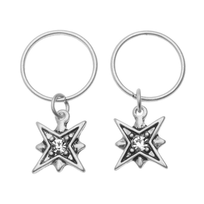 Zola Elements Charm, North Star with Crystal 12x10mm, 2 Pieces, Antiqued Silver Tone