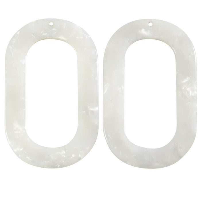 Zola Elements Acetate Pendant, Oval Donut 27x44mm, 2 Pieces, Pearl White
