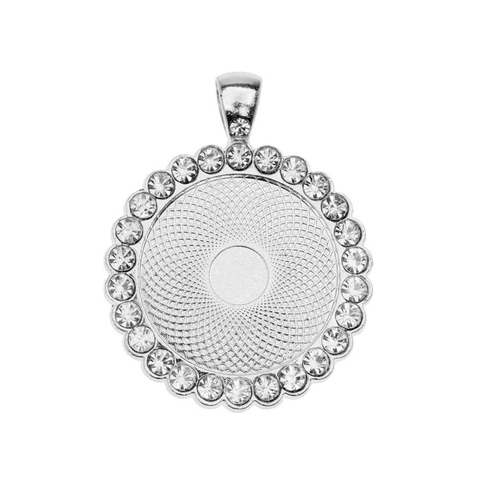 Bezel Pendant, Circle with Crystal Edge 25mm, 1 Piece, Silver Tone