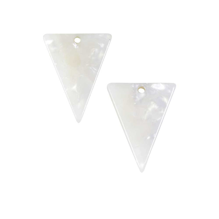 Zola Elements Acetate Pendant, Triangle 16x20mm, 2 Pieces, Pearl White