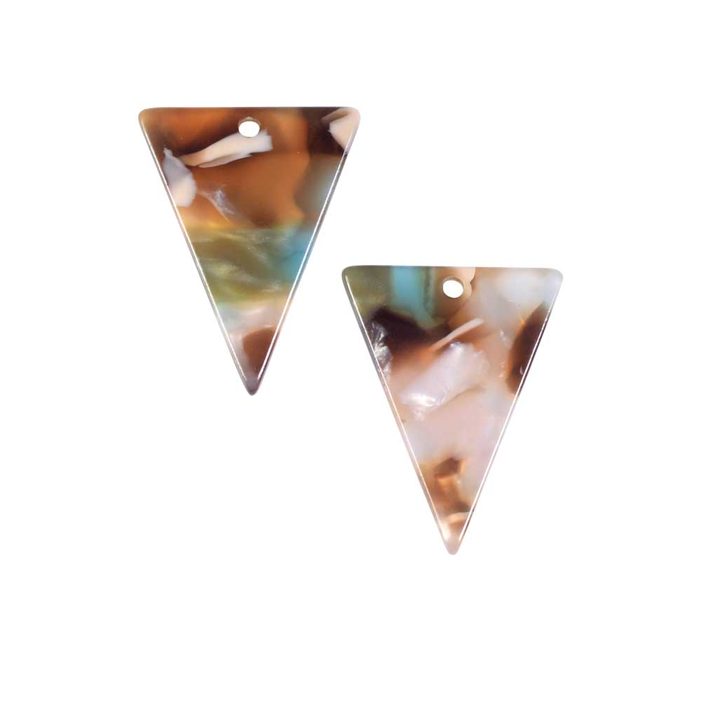 Zola Elements Acetate Pendant, Mermaid Triangle 16x20mm, 2 Pieces, Multi-Colored