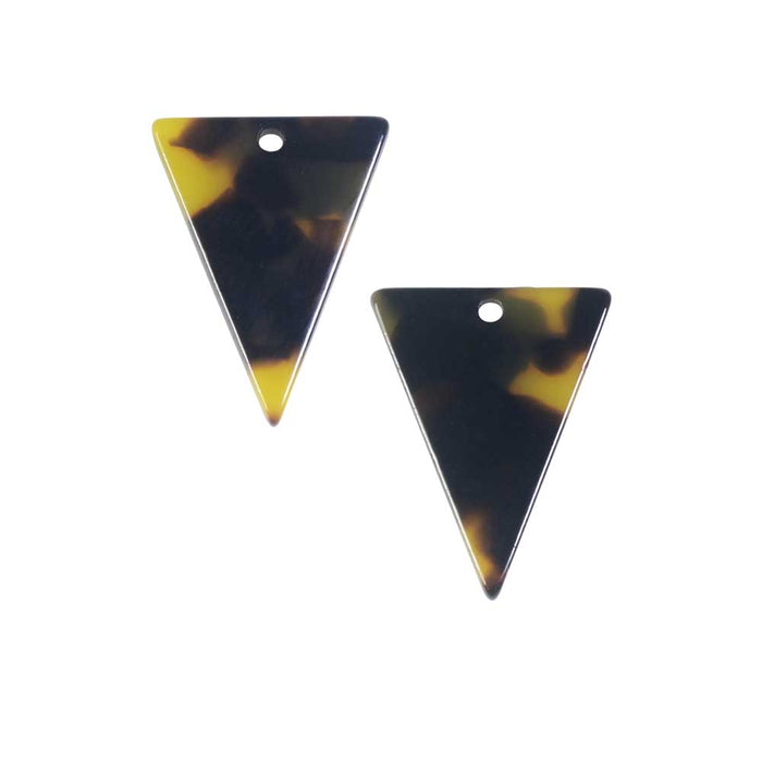 Zola Elements Acetate Pendant, Triangle 16x20mm, 2 Pieces, Brown Tortoise Shell
