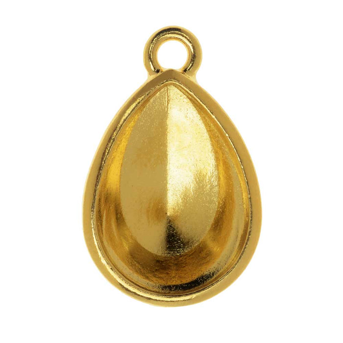 TierraCast Bezel Pendant, Fits #4320 Pear 18x13mm, 1 Piece, Gold Plated
