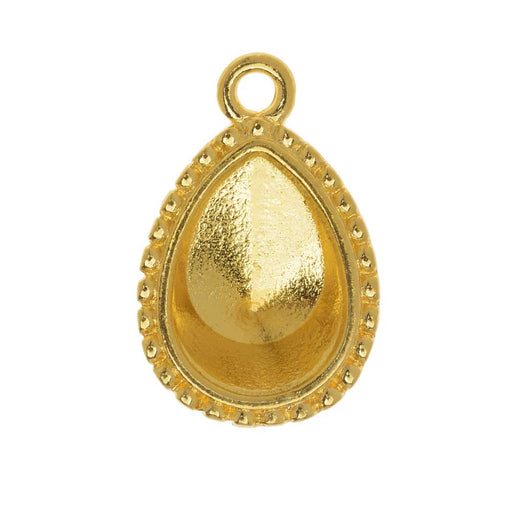 TierraCast Bezel Pendant, Fits #4320 Pear 14x10mm, 1 Piece, Gold Plated