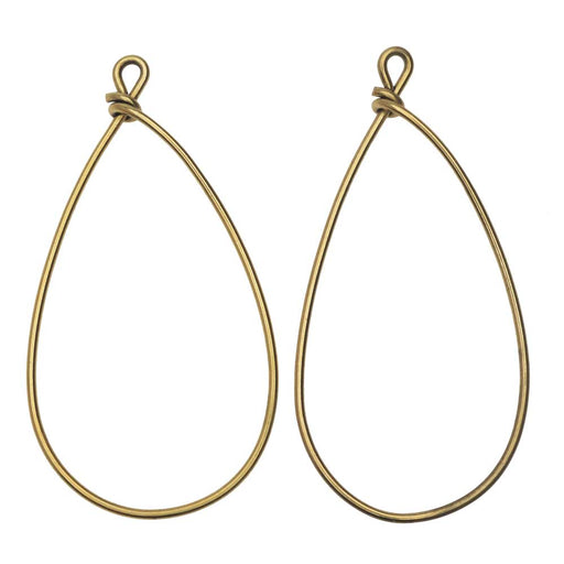 Nunn Design Wire Frame, Pear 18 Gauge, 46.5mm, 2 Pieces, Antiqued Gold