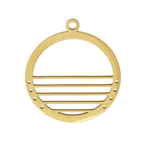 Centerline Beadable Pendant, Round with Cutouts and Holes 28mm, 1 Piece, Gold Plated