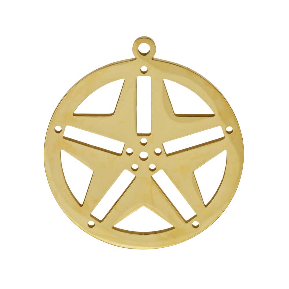 Centerline Beadable Pendant, Round with Star Cutouts and Holes 29mm, 1 Piece, Gold Plated