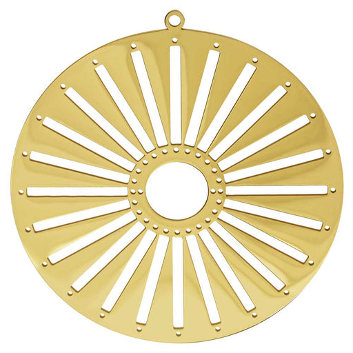 Centerline Beadable Pendant, Round Sun with Cutouts and Holes 62mm, 1 Piece, Gold Plated