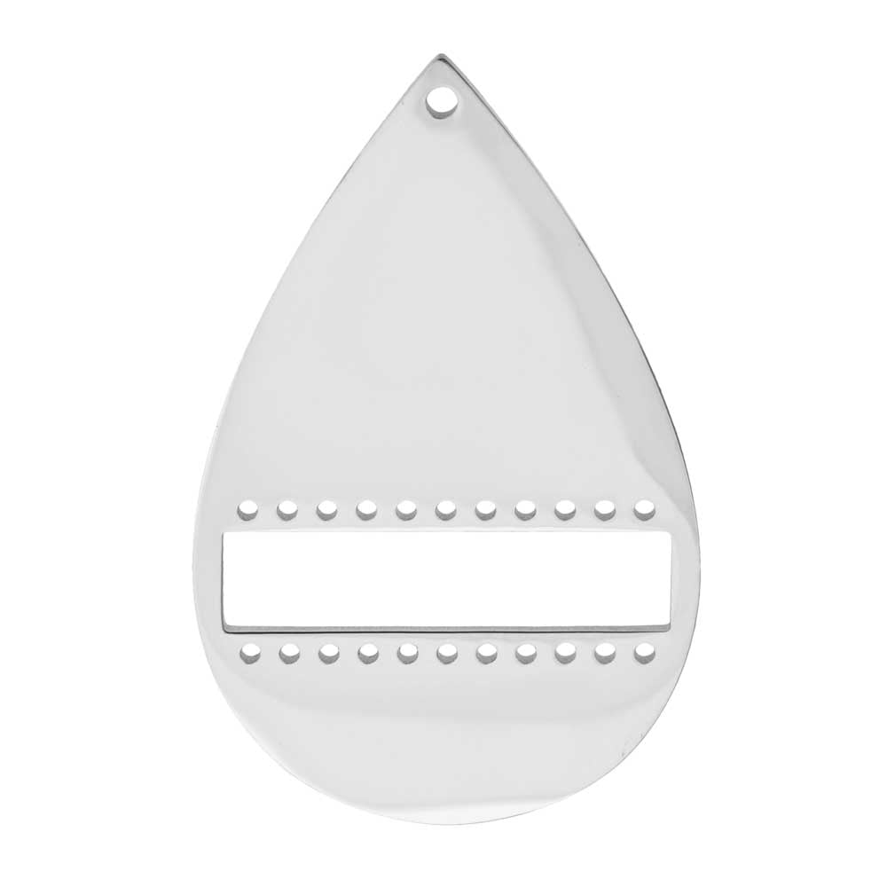 Centerline Beadable Pendant, Drop with Cutout and Holes 34mm, 1 Piece, Rhodium Plated