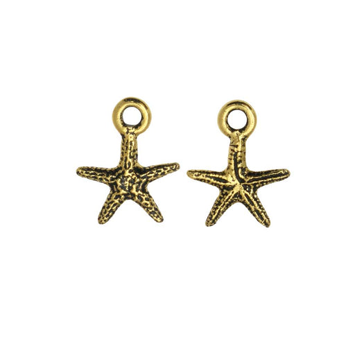 Pewter Charm, Starfish 13mm, Antiqued Gold Plated, 2 Pieces, By TierraCast