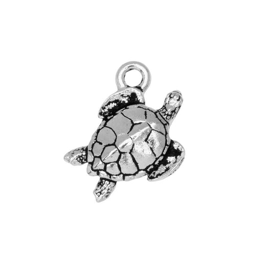 Pewter Charm, Sea Turtle 16.5mm, Antiqued Silver Plated, 1 Piece, By TierraCast
