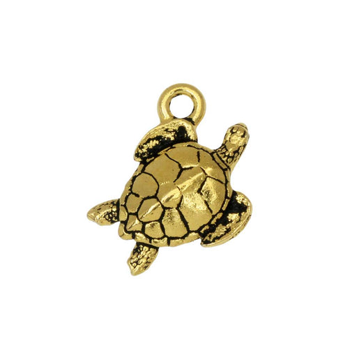 Pewter Charm, Sea Turtle 16.5mm, Antiqued Gold Plated, 1 Piece, By TierraCast