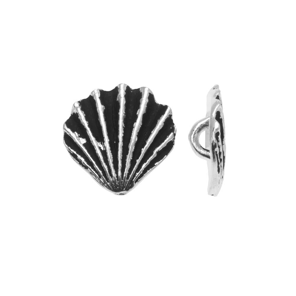 Pewter Button, Scallop Shell 13mm, Antiqued Silver Plated, 2 Pieces, By TierraCast