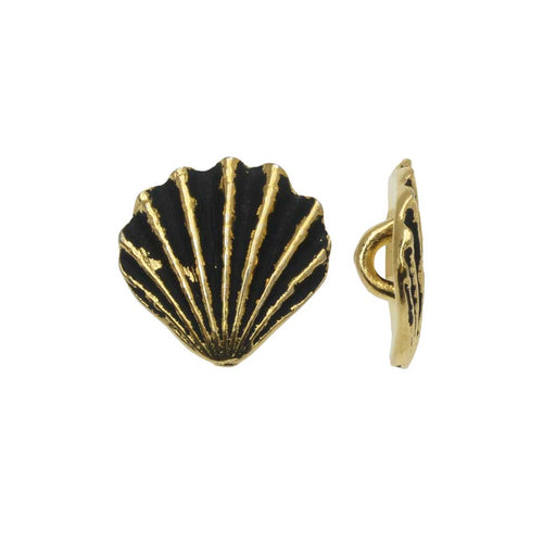 Pewter Button, Scallop Shell 13mm, Antiqued Gold Plated, 2 Pieces, By TierraCast