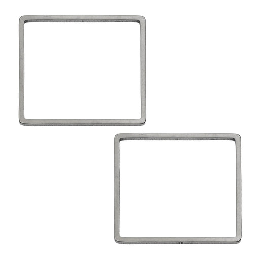 Beadable Open Frame Link, Square 20mm, 4 Pieces, Stainless Steel