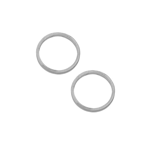 Beadable Open Frame Link, Circle 12mm, 4 Pieces, Stainless Steel