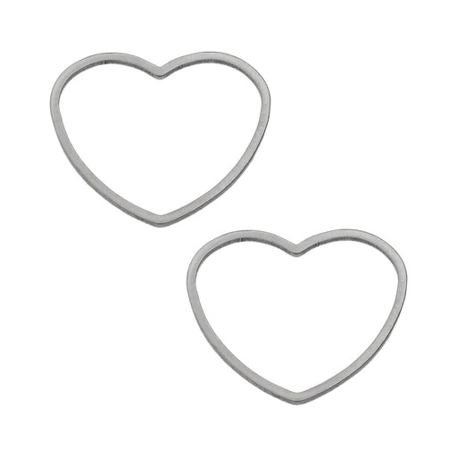 Beadable Open Frame Link, Heart 19.5x17.5mm, 4 Pieces, Stainless Steel
