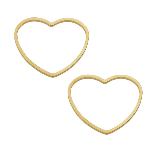 Beadable Open Frame Link, Heart 19.5x17.5mm, 4 Pieces, Gold Tone Steel